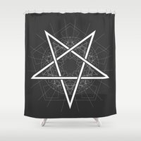 baphomet Shower Curtains featuring Baphomet Pentagram Star - Satanic sign by Kami77a