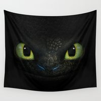 daenerys targaryen Wall Tapestries featuring Toothless  by aleha