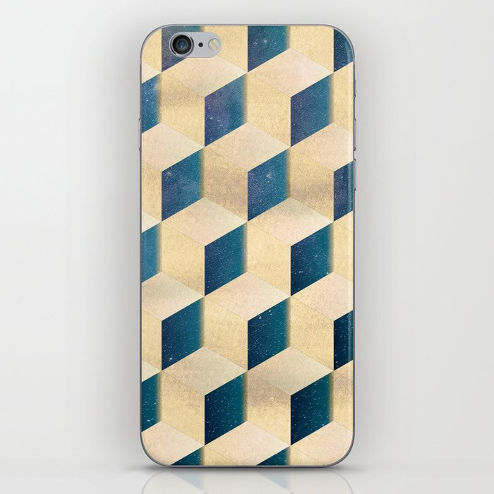 Space Cubes Gold Shimmery Galaxy Stars with Yellow Gold iPhone Skin