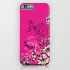 Vintage butterfly wallpaper- magenta Slim Case iPhone 6s