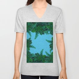 GREEN & BABY BLUE  FERN LEAVES ART Unisex V-Neck