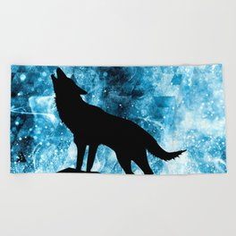 Howling Winter Wolf snowy blue smoke Beach Towel