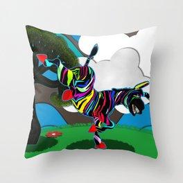Zapped Zebra Zing trying a Rain Dance Throw Pillow