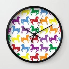 COLORFUL HORSES Pop Art Wall Clock