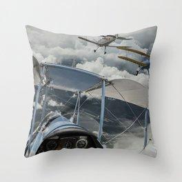 Biplane squadron Throw Pillow