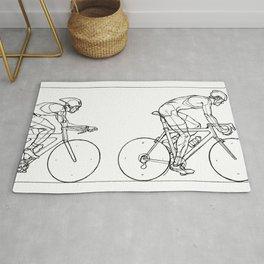 Transitions through Triathlon Cyclists Drawing B Rug