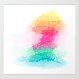 Rainbo water color splash texture Art Print