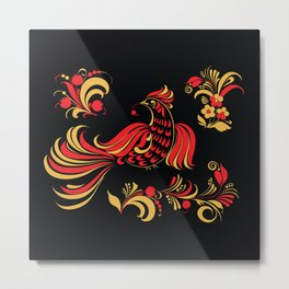 Native red bird Metal Print