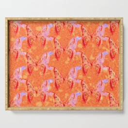Colorful Painted Butterlies in Coral Orange Pink Color  #decor #society6 #buyart Serving Tray