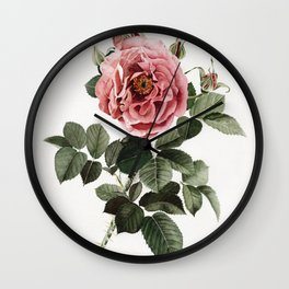 Dusty English Red Rose Wall Clock