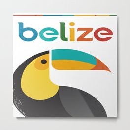 Belize Toucan Colorful Retro Vintage Travel Poster Metal Print