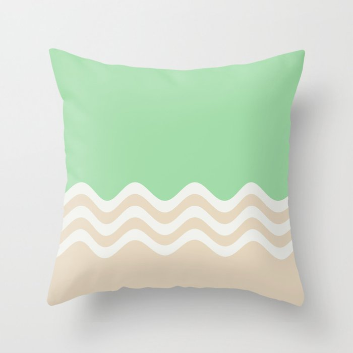 Pastel Green, Beige & Linen White Wavy Stripes 2 Pairs to 2020 Color of the Year Neo Mint Throw Pillow