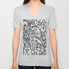 Cool Graffiti Art Dinosaur Black and White  Unisex V-Neck