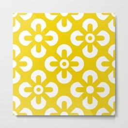 Summerish Illuminating Yellow White geometric flowers grid Metal Print