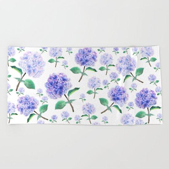 purple blue hydrangea pattern  Beach Towel