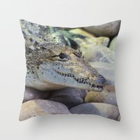 crocodile Throw Pillows featuring Crocodile by PICSL8
