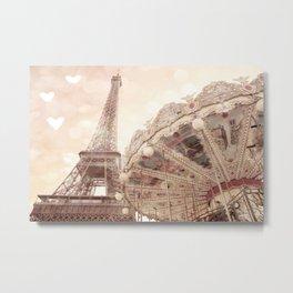 Eiffel Tower Carousel Dreamy Sepia Hearts  Metal Print