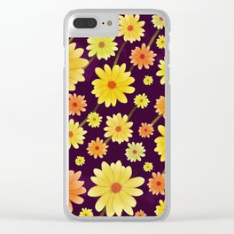 Yellow dots, Yellow Flower, Floral Pattern, Yellow Blossom Clear iPhone Case
