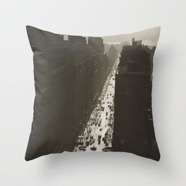 Seventh Avenue, NYC Looking South from 35th Street, Manhattan black and white skyline photograph Throw Pillow