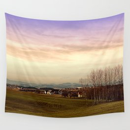 Beautiful panorama under a cloudy sky | landscape photography Wall Tapestry