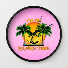 Pink Island Time Wall Clock