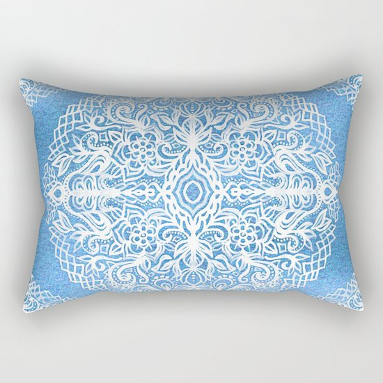 White Gouache Doodle on Pearly Blue Paint Rectangular Pillow