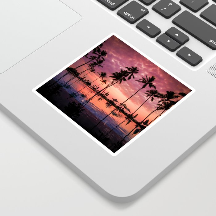 Paradise Sunset Tropical (Color) Sticker