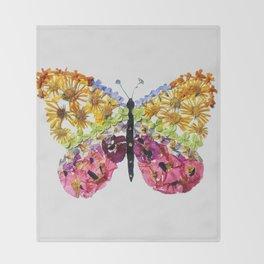 Grey Pressed Flower Butterfly Throw Blanket
