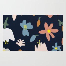 Blooming in the Navy (Handmade Floral Pattern) Rug