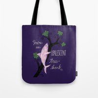 leslie knope Tote Bags featuring Leslie Knope Compliments: Opalescent Tree Shark  by Shebanimal