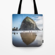 Travel Nature Landscape Tapestry Cannon Beach Goonies Oregon Haystack Rock Tote Bag