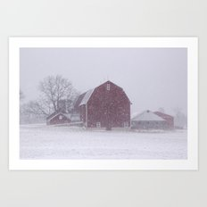 Red Barn in a Snowstorm Art Print
