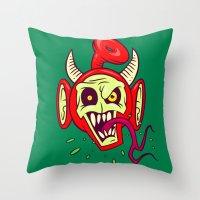 evil dead Throw Pillows featuring Evil Dead Po by Artistic Dyslexia