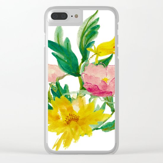 Watercolor Bouquet of Yellow and Purple Peonies Clear iPhone Case