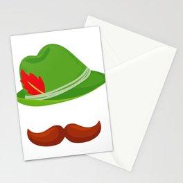 Funny Oktoberfest Face German Hat  Design  Stationery Cards