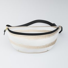 Simply Brushed Stripes White Gold Sands on White Fanny Pack