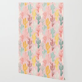 Long Multicolored Cacti Wallpaper