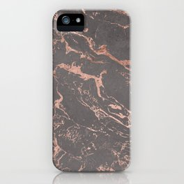 Modern Grey cement concrete on rose gold marble iPhone Case