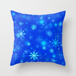 Pattern of luminous light blue snowflakes on a light background with bright highlights. Throw Pillow