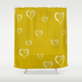 Polka Heart Party, Gold Shower Curtain