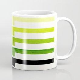 Minimalist Mid Century Modern Sap Green Watercolor Painting Lightning Bolt Zig Zag Pattern With Blac Coffee Mug