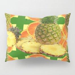 PINEAPPLES & ORANGE FRUIT SLICES  GREEN DESIGN Pillow Sham