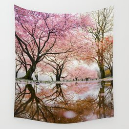 reflective cherry blossoms trees pink petals of flowers Wall Tapestry