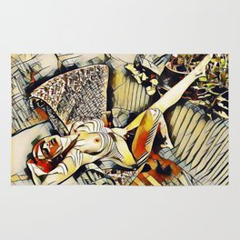 4406s-JG Sensual Nude in Chair By Window Erotic Kandinsky Style Art Rug