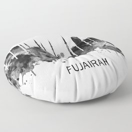 Fujairah UAE Skyline BW Floor Pillow