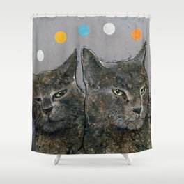Grey Cats Shower Curtain