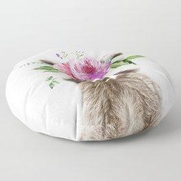 Baby Raccoon with Flower Crown Floor Pillow