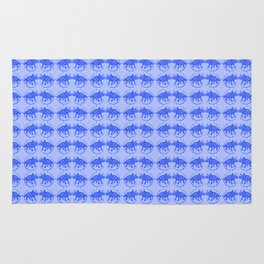 Blue Dinosaur Triceratops Pattern Ultra High Definition Rug