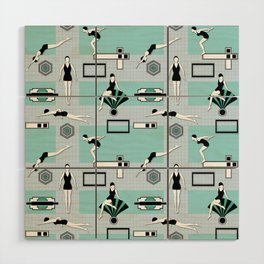Art Deco Swimmers Wood Wall Art