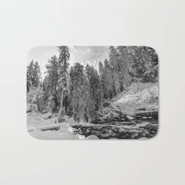 Oregon Adventures Black and White - Nature Photography Bath Mat